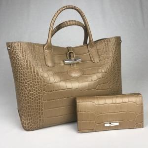 Longchamps Handtas Croco Beige met Portemonaie
