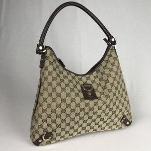 Gucci Hobo Bag Canvas Beige