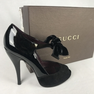 Gucci Kid Scamosciato Vernis Silk Nero 39,5