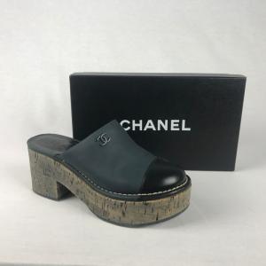 Chanel Klompje Blauw Zwart 37